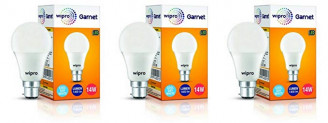 Wipro Garnet Base B22 14-Watt LED Bulb (Pack of 3, Cool Day Light)