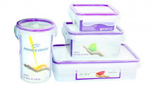 Princeware Deluxe Plastic Lunch Box, 4-Pieces, Transparent