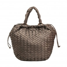 Miu Miu Grey Leather Intreccio Woven Hobo