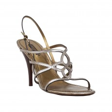 Louis Vuitton Silver Strappy Leather Sandals
