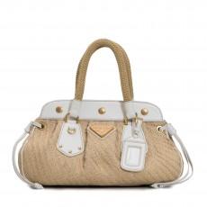 Prada Beige/White Jute Frame Top Satchel Bag