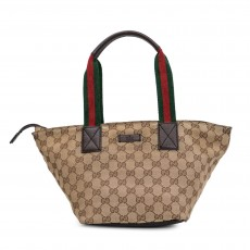 GUCCI Beige/Ebony Canvas Vintage Web Small Tote