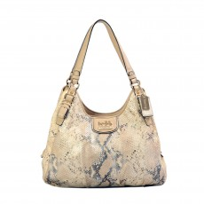 Coach Madison Embossed Metallic Python Maggie Hobo