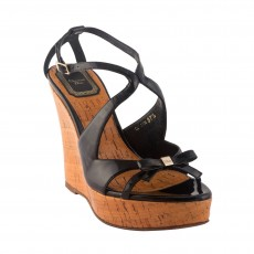 Christian Dior Patent Leather Wedges Size 37.5  01