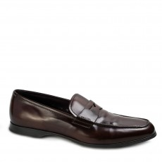 Prada Tobacco Leather Penny Loafers