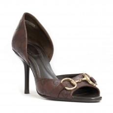 Gucci Brown Guccisima Leather D'Orsay Pumps -1