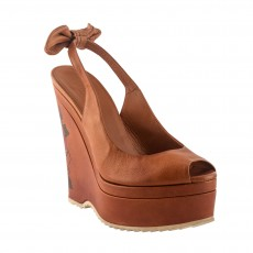 Gucci Tan Brown Tattoo Leather Slingback Tie Bow Wedges-2