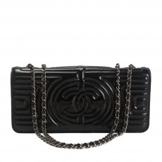 Chanel Black Quilted Patent Leather Evening Bag -03