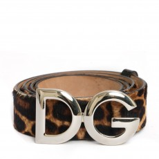 Dolce and Gabbana Leopard Pony Hair Logo Belt