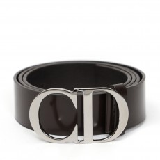 Christian Dior Black Leather Logo Buckle Belt