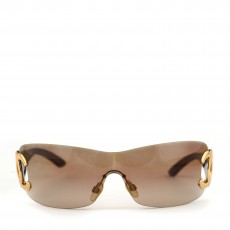 Chanel Brown Rimless CC Logo Sunglasses