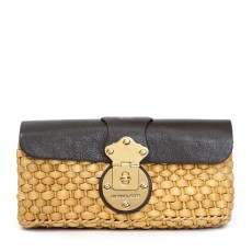 Michael Kors Straw Clutch With Brown Leather