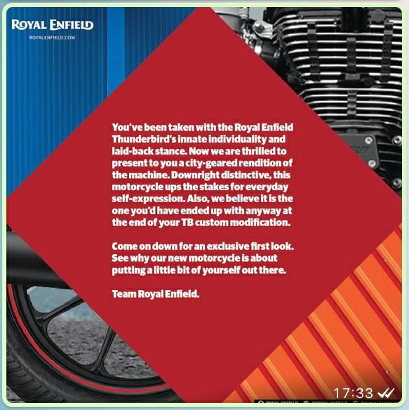 Royal Enfield Thunderbird 350x 500x Invite