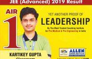 JEE Advanced 2019 Result declared: ALLEN Classroom Student Kartikey Gupta bagged AIR 1