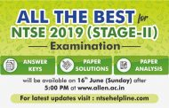 NTSE Stage II Examination to be conducted tomorrow! Check Answer Keys and Paper solutions by ALLEN Experts