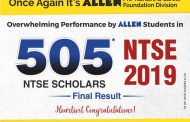 NTSE 2019 Final Result : 505 ALLEN students selected for NTSE scholarship