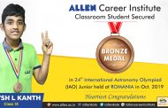 ALLEN Career Institute's student outshines in 24th International Astronomy Olympiad (IAO)– Junior