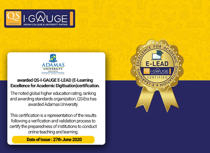 Adamas University receives prestigious E-Learning certification from QS