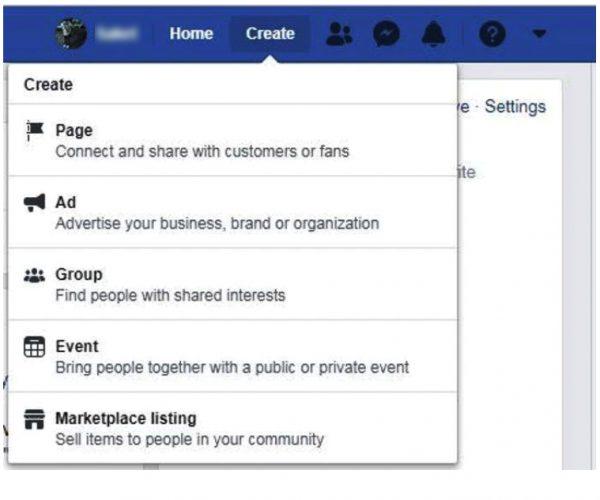 technology facebook create button