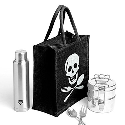 Pirate style jute lunch bag