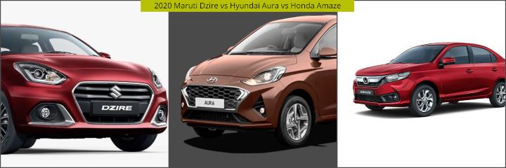2020 Maruti Dzire vs Hyundai Aura vs Honda Amaze Image