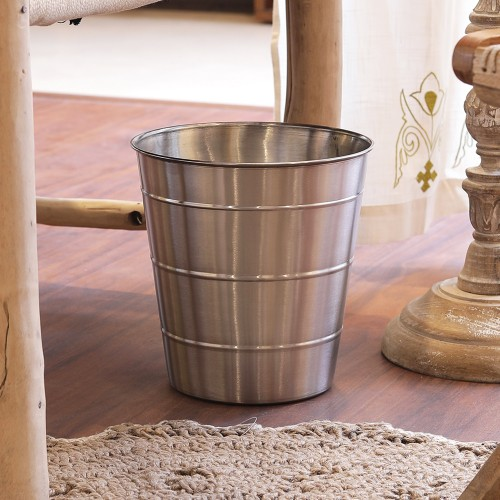 The Décor Mart stainless steel plain silver open Dustbin (10x10x7) inches.