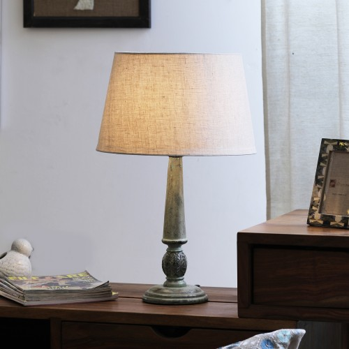 """The Décor Mart Off White Shade With Wooden Base Table Lamp (14"""" x 14"""" x 22"""")"""