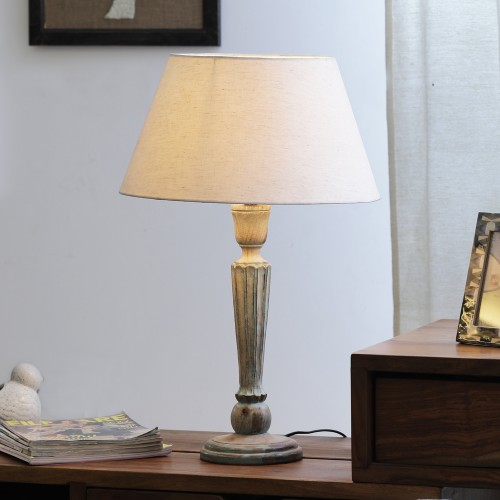 "The Décor Mart Ivori Shade With Wooden Base Table Lamp (13.5"" x 13.5"" x 22.5"")"