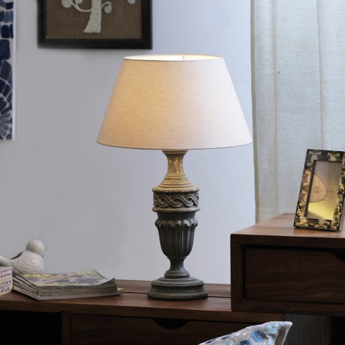 """The Décor Mart Off White Shade With Wooden Base Table Lamp (15"""" x 15"""" x 22.75"""")"""