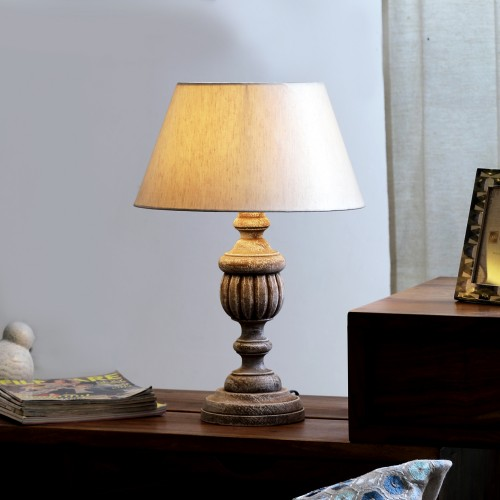 """The Décor Mart Off White Shade With Wooden Base Table Lamp (15"""" x 15"""" x 20.25"""")"""