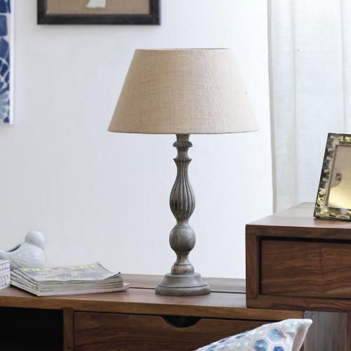 """The Décor Mart Beige Shade With Wooden Base Table Lamp (13.5"""" x 13.5"""" x 23.50"""")"""
