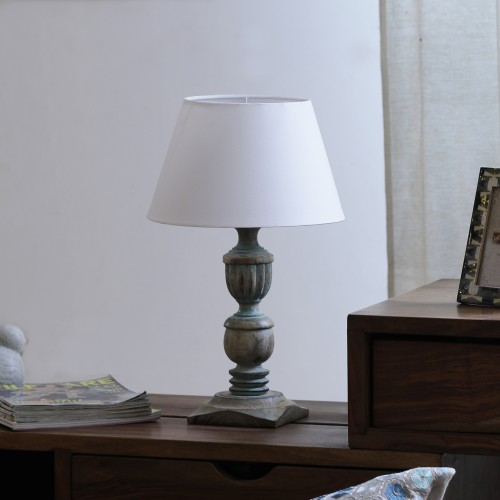 """The Décor Mart White Shade With Wooden Base Table Lamp (11"""" x 11"""" x 18.5"""")"""
