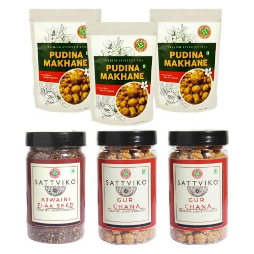 Sattviko Snacks Combo (Pudhina Makhana, Ajwaini Flax Seed & Gur Chana), 375 grams