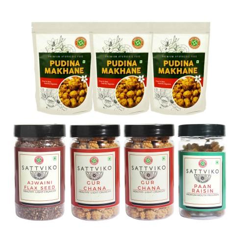 Sattviko Snacks Combo (Pudhina Makhana, Ajwaini Flax Seed, Gur Chana & Paan Raisin), 485 grams
