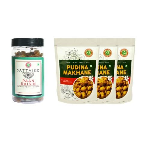 Sattviko Snacks Combo (Pudhina Makhana & Paan Raisin), 185 grams