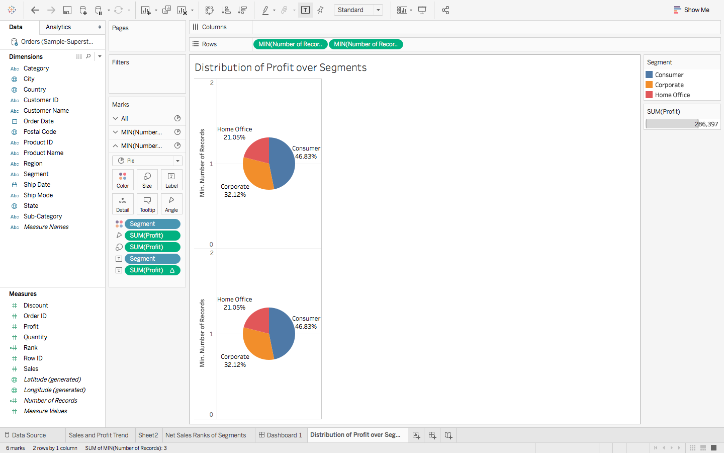 A Step By Guide To Learn Advanced Tableau For Data Science Complicated Wiring Diagram Drag Number Of Records From Measures Over The Rows Twice Change Measure Each Green Pill Right Clicking On Them And Choosing Minimum In