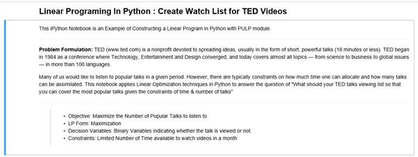 Introductory guide to Linear Optimization in Python (TED