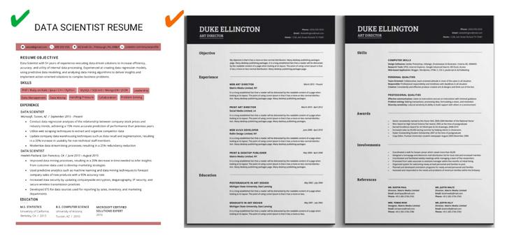 good data science resume