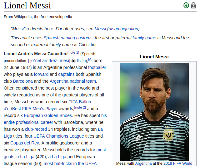 messi knowledge graph