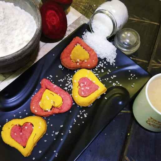 Photo of Kesori beet root cookies by শম্পা ডি ব্যানার্জী at BetterButter