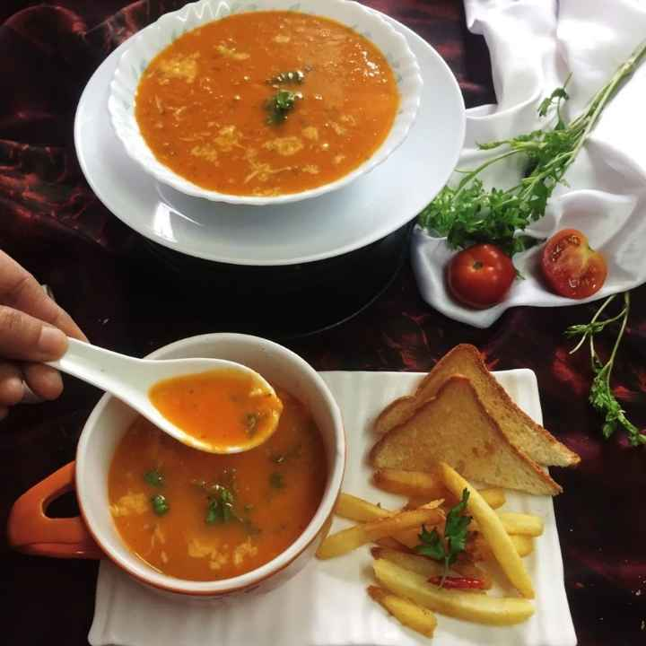 Photo of Cheesy grilled tomato soup by Debjani Dutta at BetterButter