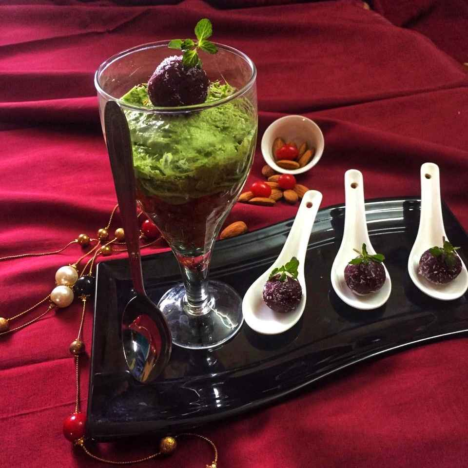 Photo of Palak mousse with gajar ka halwa topped with beetroot ladoo by Debjani Dutta at BetterButter