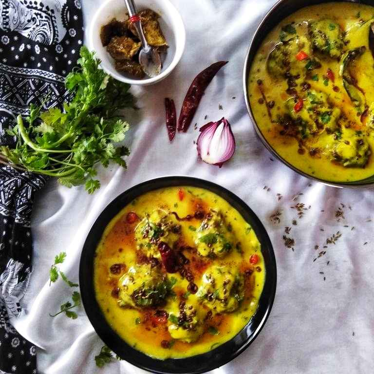 Photo of Punjabi kadhi with baked pakora by Debjani Dutta at BetterButter