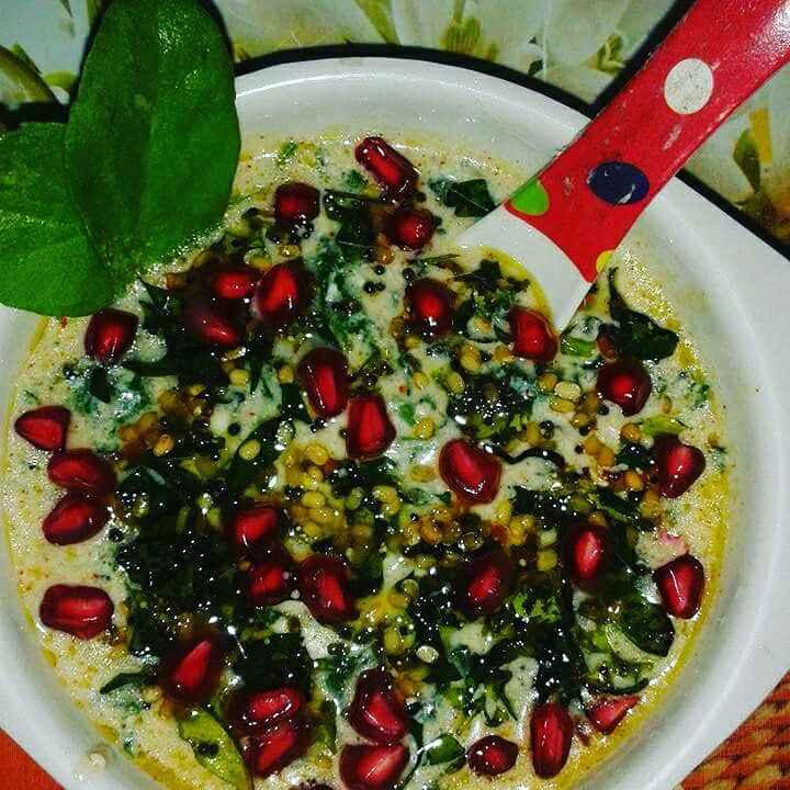 How to make Spinach Raita / Palak Raita / Pachadi