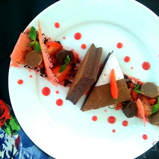 Photo of Ragi tart with Bitter chocolate chilli mousse, Strawberry compote and Ragi chocolate soil by Divya Jain at BetterButter