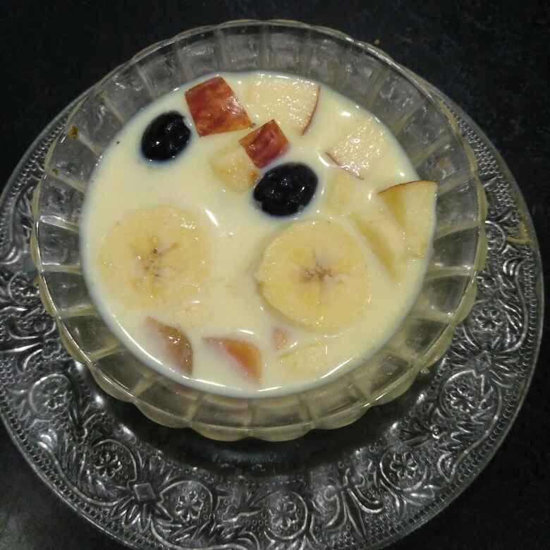 How to make Mix fruit custard