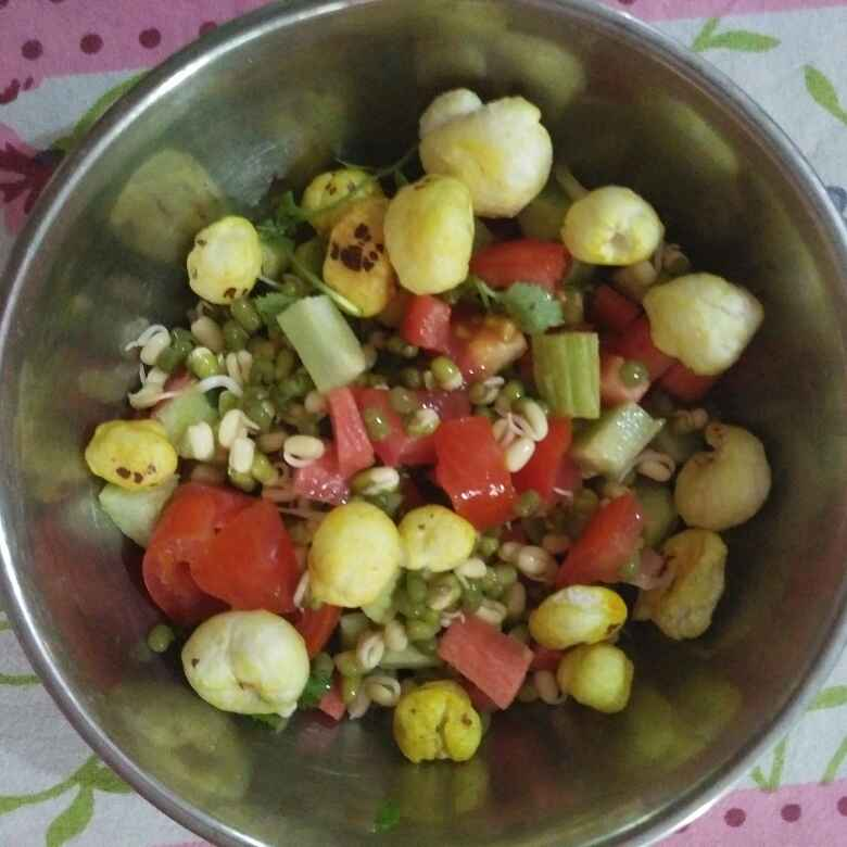 Photo of Makhana sprout vegetables salad by Aachal Jadeja at BetterButter