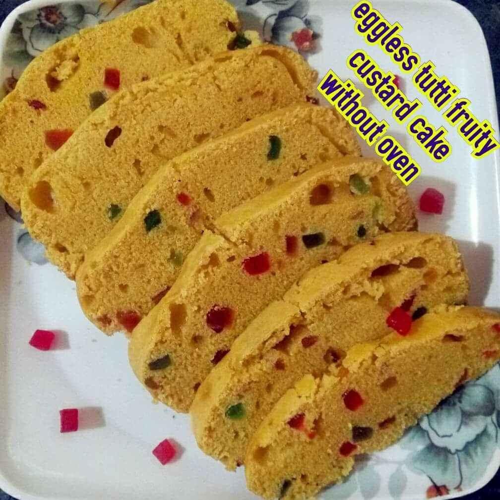 Photo of Eggless tutti fruity custard cake by yamini Jain at BetterButter