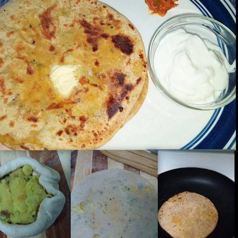 How to make Aloo Paratha with Dahi and Aachar