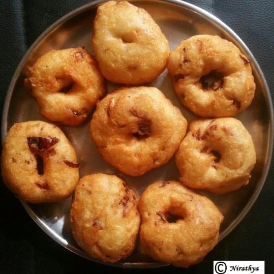 How to make Ulli Garelu { Onion Medu Vada/ Lentil Dumplings }